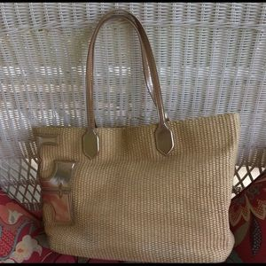 Tory Burch straw bag tote metallic stacked T's